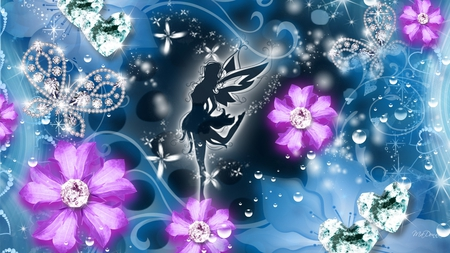 Fairy Dance - fantasy, pink flowers, flowers, hearts, diamonds, fairy, blue, sparkles