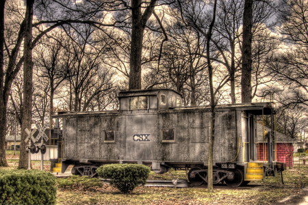 Bygone Era - old, transportation, railroads, rail, caboose, antiques, conductor, trains