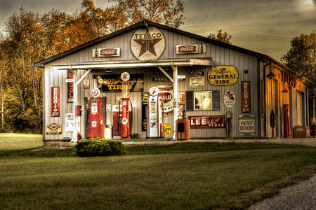Texaco Station...Fill 'er up? - service island, tirebay, pa, country store, gas pumps, down south, old, tire bay, southern, tires, service station, texaco, general store, mom, pop, gas station, ma, antique, air, family business