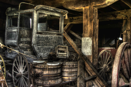 Family Stagecoach - transportaion, shed, barrels, old, wagon wheels, carriage, barn, farm, antique, wagon, stagecoach, farmstead