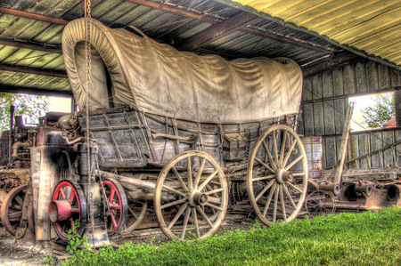 Covered Wagon - chuck wagon, covered wagon, shed, old, wagon wheels, carriage, barn, farm, spokes, antique, wagon, storage, tools, wood