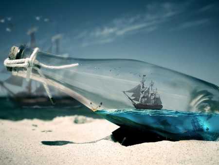 Ship in a bottle - ship, manipulasyon, bottle, sea