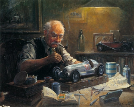 Alan Fearnley art - grand-father, car, toy, art painting, passion, man, hobby, alan fearnley