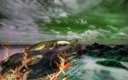 Car Background - car, fire, photoshop, sky