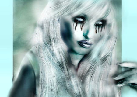 the snow white storm - original, fantasy wallpaper, white hair, fantasywonan, cold, blonde woman, fantasy, gothic, tears, cry, stare, look, high, black, storm, snow, ice, desktop nexus, scifi, eyes