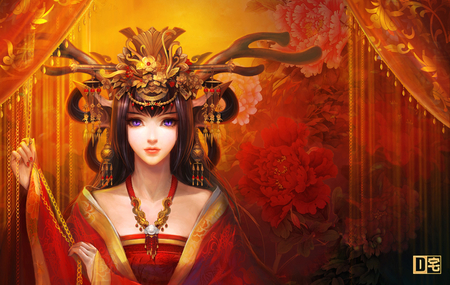 Beauty - design, japanese, headset, asian, curtain, make up, long hair, beauty, kimono, anima
