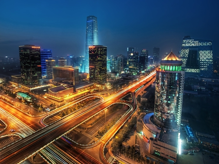 Beijing at Night - city, traffic, china, lights, night, beijing, skyscrapers