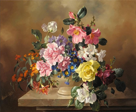 FLOWER PAINTING - flowers, colourful, painting, art, vase