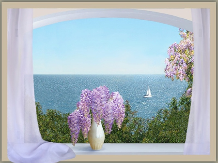 VIEW FROM THE WINDOW - flowers, beautiful, curtain, painting, window, sea, vase, boat