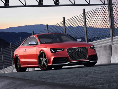 Audi RS5 2012 - red, audi tuning, 2012, audi rs5, audi, track, red audi, audi on track, wallpaper, kkd, car, fast audi, fast, custom audi, german, audi 2012, virtual tuning, rs5, red rs5, tuning, modified audi, tuned audi, german car, kk designs, audi wallpaper, desktop nexus