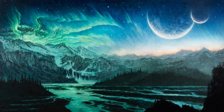 Cold river - viking, cold, moon, north, river, space