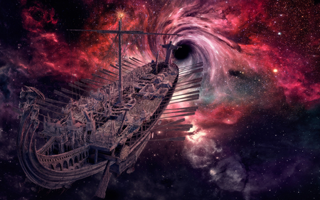 Traveling through galaxies.. - space, stars, galaxy, ship, travel, boat