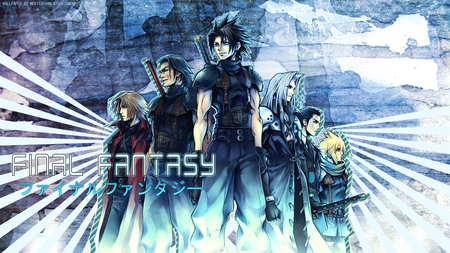 Crisis Core - ff7, ffvii, games, zack fair, final fantasy 7, video games, tsung, spiky hair, final fantasy, long hair, sephiroth, swords, cloud, genesis, angeal, soldiers, final fantasy vii, weapons, trench coat, cloud strife, blue background, zack, crisis core