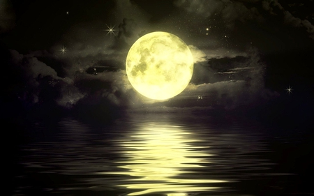BIG YELLOW MOON - stars, ocean, yellow, sky, clouds, moon, big, river, reflection, night