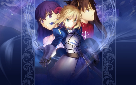 Fate/Stay Girls - saber, fate, female, background, holy grail, stay, anime, fight, girls, smoke, night