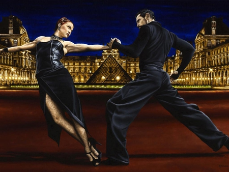 Richard Young - Last tango in Paris - richard young, louvre, painting, man, monument, last tango in paris, woman, couple, pyramid, young, girl, suit, art, black, dance