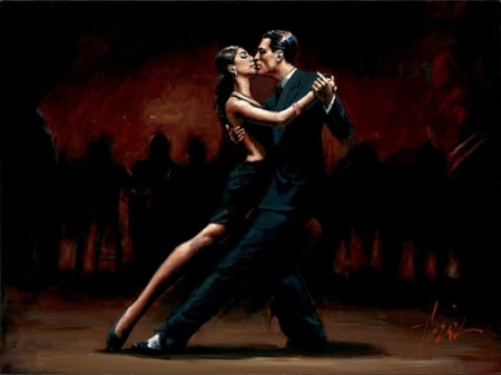 Fabian Perez - Tango In Paris In Black Suit - art, love, passion, young, dance, woman, paris, man, tango, girl, fabian perez, black suit, kiss, painting