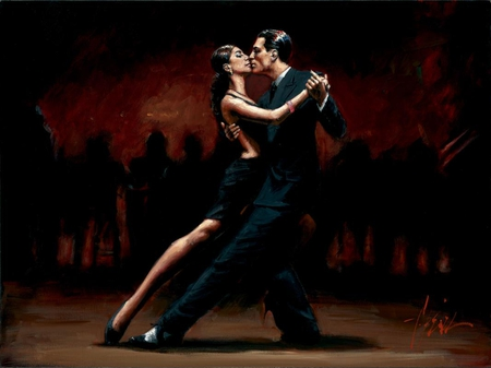 Fabian Perez - Tango In Paris In Black Suit - painting, man, fabian perez, woman, kiss, tango, young, girl, art, black suit, paris, passion, dance, love