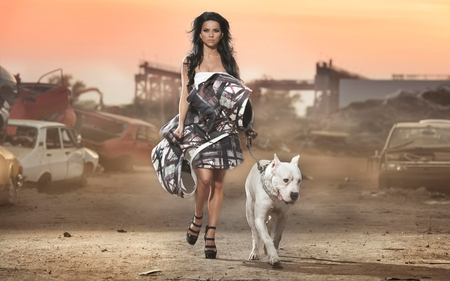 Babe With Dog - animal, wolf, babe, desert, dog