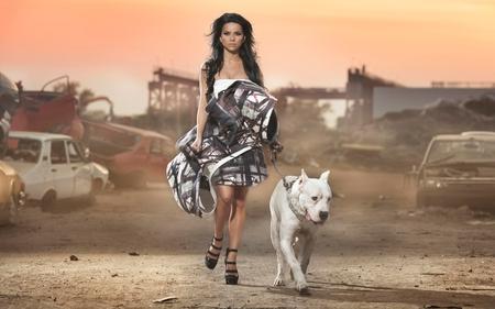 Babe With Dog - animal, wolf, babe, desert, dog