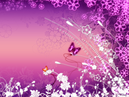 Floral Pink - colorful, butterfly, colors, violet, abstract, pink