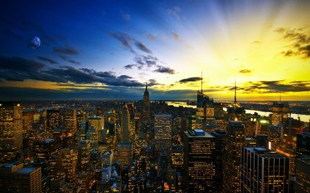 New York Skyline At Sunset - skyscrapers, yellow, sun, city, blue, moon, clouds, new york, light, skyline, sky, sunset, architecture