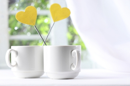 Morning Love - window, yellow, hearts, sweet, photography, coffee, love, heart, cup, morning, white, cups
