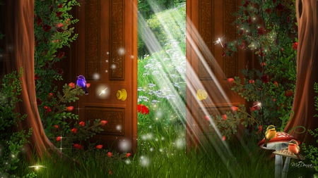 Door to Spring - flowers, grass, sunshine, light, birds, doors, door, mushrooms, trees, toadstools, sun, enchanting, dragonflies, fantasy