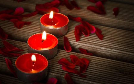 Candles and rose petals - red, peace, candles, rose petals, warmth, beauty, petals, light, harmony