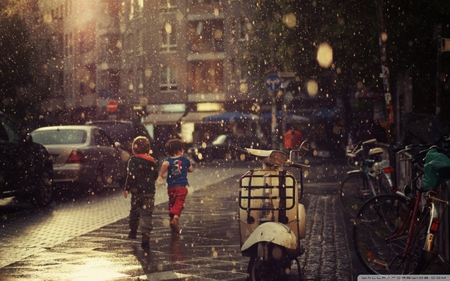 children running in the rain - rain, street, vespa, kids