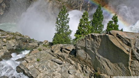 rainbow in gorge - waterfall, rainbow, water mist, gorge