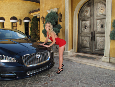 Casi James and her Jag - blond, face, car, skirt, red, eyes, sexy, dress, woman, casi, james, legs, hair, lady, jaguar, heels, luxury, hot, babe, lips, blonde, jag, beautiful, girl