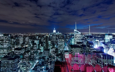 Lower Manhattan - architecture, new york, buildings, beautiful, sky, manhattan, clouds, skyscrapers, night