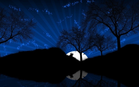 MOON - hill, night, moon, stars, sky, man, horse, trees, reflection
