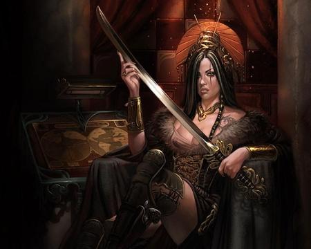 art Asian fantasy warrior woman