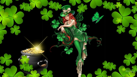 Irish Fairy - fae, green eyes, st patricks day, beautiful, red hair, pot of gold, sexy, pixie, shamrocks, fairy, saint patricks day