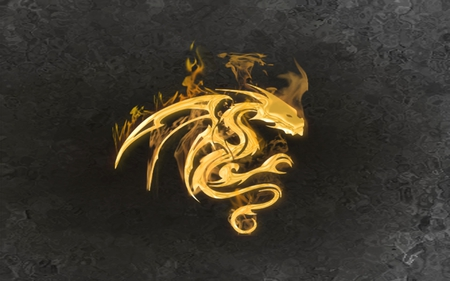 fire dragon - flames, fire, tribal, golden, gold, dragon