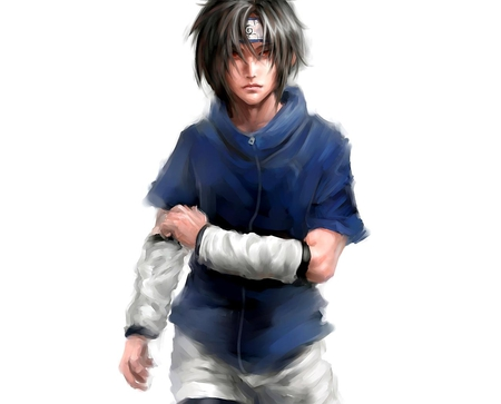 Uchiha Sasuke - shinobi, uchiha sasuke, male, naruto, sasuke, white background, sasuke uchiha, shorts, anime, lone, solo, headband, red eyes, black hair, ninja