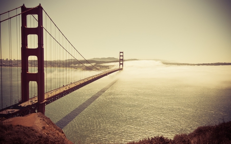 Golden Gate Bridge - bridge, golden gate bridge, sunset, bay, san francisco