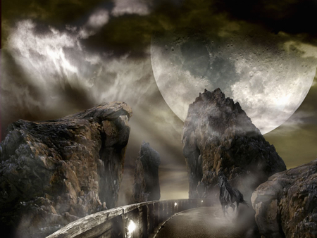 horse alone - rocks, night, moon, alien planet, horse
