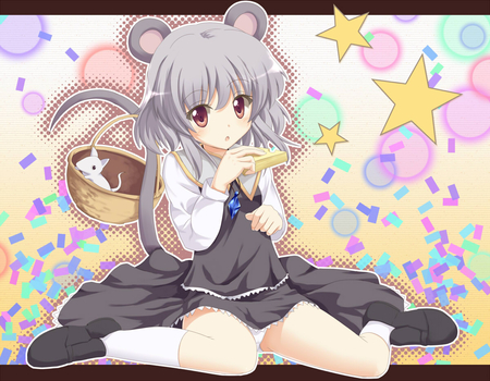 anime - dress, ears, panties, sta, animal, francis, nazrin, girl, ohne, anime