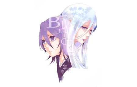 Rukia & Sode no Shirayuki - white background, kuchiki rukia, rukia kuchiki, rukia, purple eyes, sode no shirayuki, zanpakutou, anime, white hair, duo, female, girl, bleach, purple hair