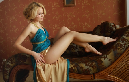 blue dress - legs, hot, blonde, woman, sexy, blue, dress