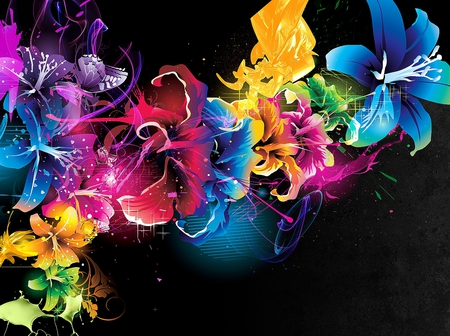 Abstract Flowers - wallpaper, flowers, colors, beautiful, abstract