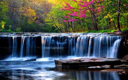 Spring falls waterfalls nature background wallpapers - Waterfalls desktop wallpaper forest falls ...