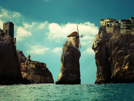 fantasy city - city, water, windmil, cliffs, clouds, sky