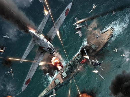 under attack - water, attck, battleship, smoke, planes