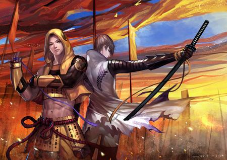 Sengoku Basara - flag, ribbon, fighter, anime boy, torn clothes, warrior, two boys, team, sengoku basara, brave, armor, sky, sword, male, tokugawa ieyasu, group, weapon, katana, mitsunari ishida