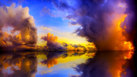 RISING CLOUDS - water, nature, reflections, clouds, lake