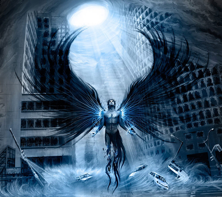 Anger of an angel - shine, beautiful, fantasy, legend, beauty, blue, amazing, wings, angel, buildings, anger, man, guardian, sexy, abstract, energy, cars, body, the end